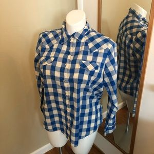 Wrangler Blue And White Check Western Shirt
